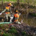 Einsatz einer Schmutzwasserpumpe